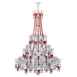 Zenith Clear and Red Chandelier 84L