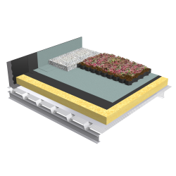 Green roof Canopia Vegetapis insulation multi use perforated steel
