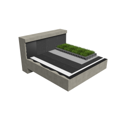 Accessible synthetic green roof multi use Silver concrete