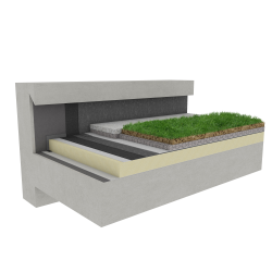 Green roof Canopia Vegetapis insulation stormwater retention multi use Silver concrete