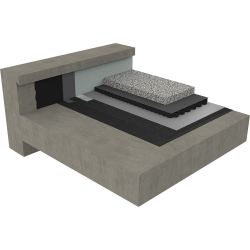 non-accessible roof with water management system under ballasted gravels on concrete deck