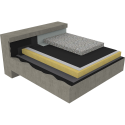 non-accessible insulated roof under ballasted gravels on concrete deck - 1-layer waterproofing