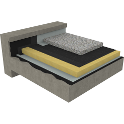 non-accessible insulated roof under ballasted gravels on concrete deck - mountain climate