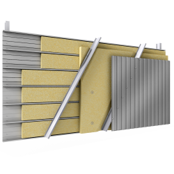 Steel double skin cladding V pos trays diagonal spacers insulation