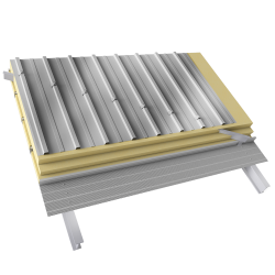 Steel double skin roofing crossed with trays with spacers