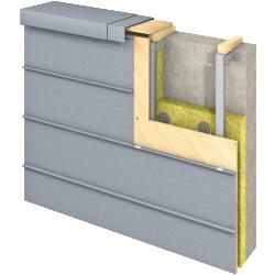 Angled Standing Seam Facade (430 mm, horizontal, prePATINA blue-grey)