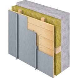 Angled Standing Seam Facade (430 mm, vertical, prePATINA blue-grey)