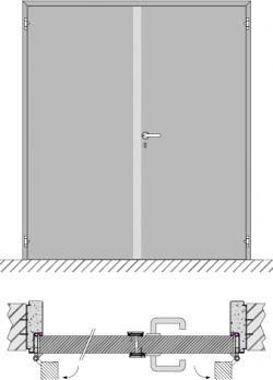 Double swing door EI1 120