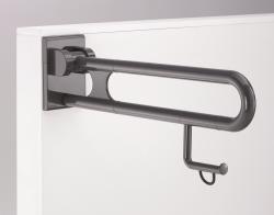 0300475 Barre d'appui rabattable avec porte rouleau L600mm