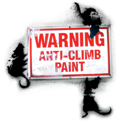 Banksy Warning Anti Climb Paint