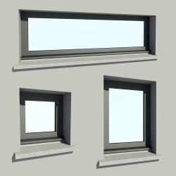 Fenêtre à soufflet en aluminium et appui béton