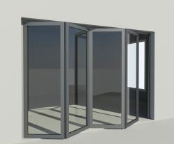 Porte vitrée accordéon en aluminium