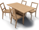 Gateleg Table and Bertil Chairs3D View