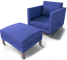Karlstad Footstool and Armchair3D View