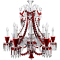 Zenith Clear and Red Chandelier 12L3D View
