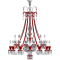 Zenith Clear and Red Chandelier 24L longGauche