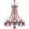 Zenith Clear and Red Chandelier 24L longDroite