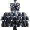Zenith Chandelier 24L Black Crystal3D View