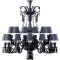 Zenith Chandelier 24L Black CrystalFront