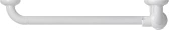 L-shaped shower bar, 664.5 x 1264.5 mm, White Polyalu, tube Ø 33 mmTop