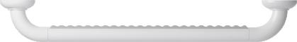 Straight grab bar, 600 mm, White Polyalu, tube Ø 33 mmTop